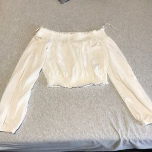 H&M White Cropped Off-the-Shoulder Top